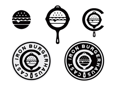 Cast Iron Burgerhaus skillet iron cast badge icon branding logo food burger