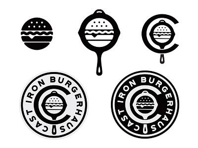 Cast Iron Burgerhaus skillet iron cast badge icon branding logo food burger