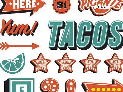 Tex-Mex Branding food taco typography type illustration identity branding texmex