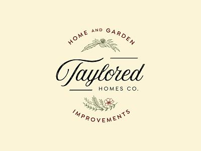 Taylored Homes Co. home improvement logo design floral garden graphic design typography branding logo