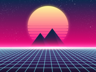 Synthwave pyramids