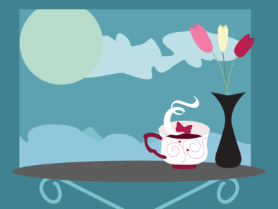 Coffee and hearts art vector illustration