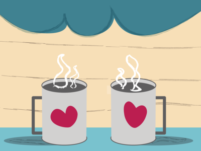 Coffee and love art vector illustration