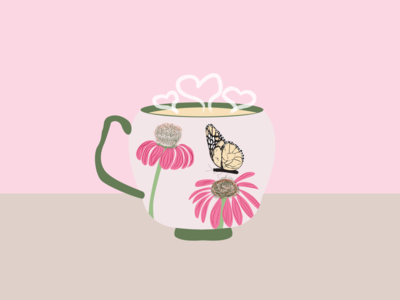 Coffee and nature art vector illustration