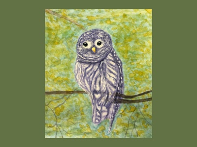 Purple owl watercolor painting art illustration