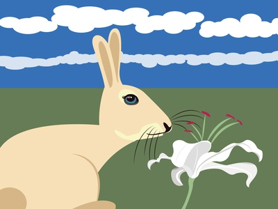 Bunny and lily 100dayproject art vector illustration