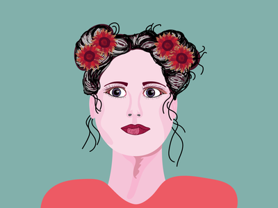 Girl with sunflowers in her hair illustrator drawing art vector illustration