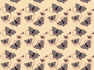 Butterflies near and far repeating pattern pattern design pattern butterflies flat illustration flat design illustrator art vector illustration