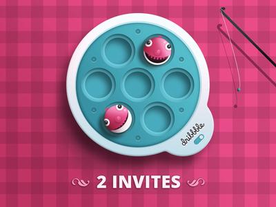 2 Invites for Dribbble 2 invites pink dribbble invite invite dribbble invitation