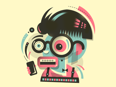 Mad nerd character artwork illustration mad nerd