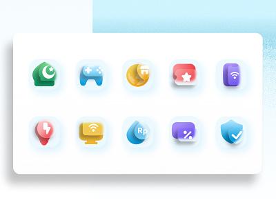 Glassmorphism Icon Exploration trendy design trend frosted frosted glass glassy glassmorphism icons set icon design iconography icons mobile app branding blibli app ui visual colorful uiux ui design design