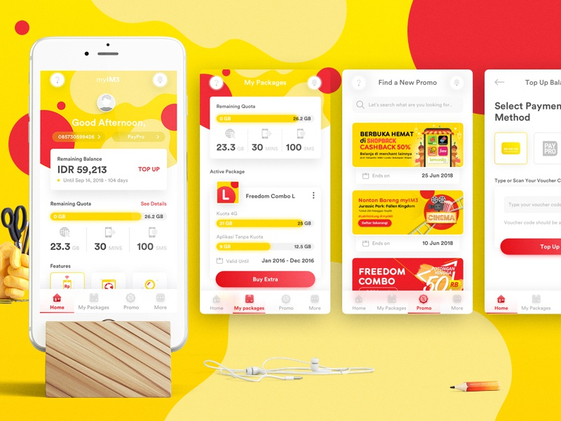 Redesign Concept of My IM3 Ooredoo by Ochan Arief on Dribbble