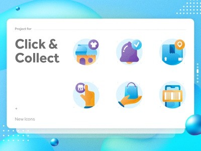 Click & Collect Icons visual colorful icons gradient color gradient design ui design icons design gradient icons