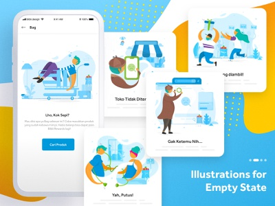 Empty State Illustrations for Blibli design vector character blibli sketch ui empty state colorful uiux visual ui design illustration