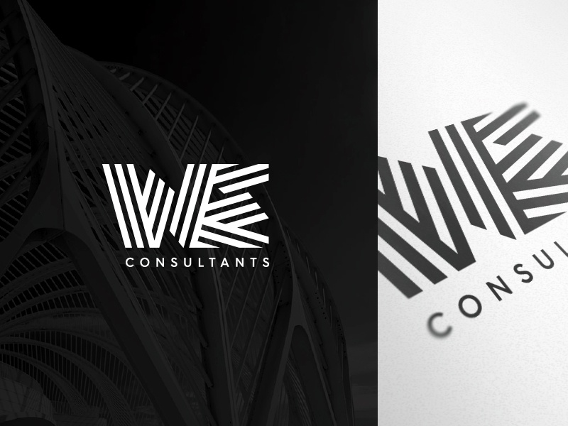 WE logo identity consultants shapes pattern lines stripes we
