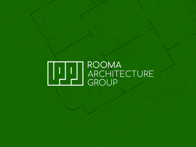 ROOMA green map architecture minimal logotype branding logo design