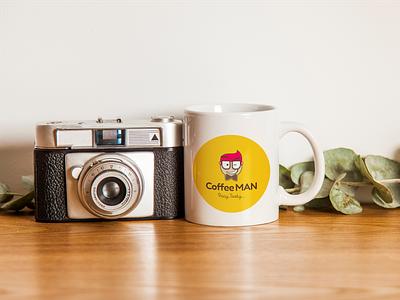 Coffee MAN yellow cup character man coffee cafe minimal design branding logotype logo