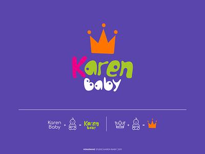 karen Baby logo design baby crown character logotype minimal branding logo design