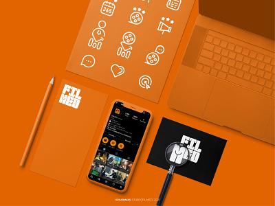 FILMED logo design app icon typography ui orange social media filme logotype minimal branding logo design