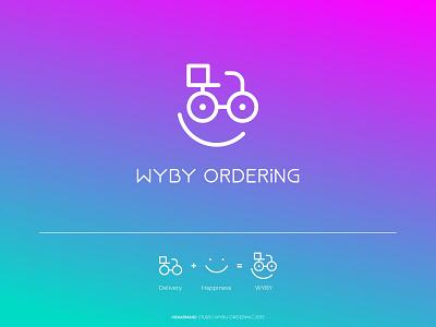 WYBY ORDERING logo design ordering app ordering app icon typography ux ui logotype minimal branding logo design