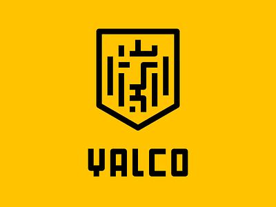 YALCO Brand Identity farsi persian iran tabriz pixel shield engine vehicle lion logo