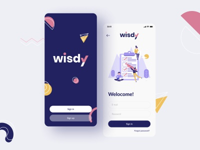 Wisdy Sign in assessment ux app design logo blurred mobile ui education app design