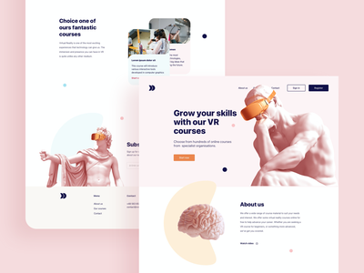 VR courses landing page - concept design pastels headset courses virtual reality vr home page landingpage flatdesign webdesign graphic design graphic education design