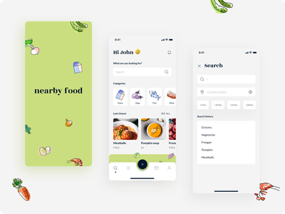 Nearby food - mobile app concept freeganism location app design splash screen ilustration flat minimal food concept design graphic design menu categories homepage search food share mobile app clean ui app design