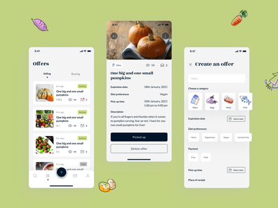 Nearby food - mobile app concept vegetables typography colorfull products mobile app flat app design graphic design concept design food offers list create offer offers freeganism illustration graphic clean ui app design