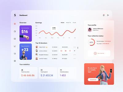 Crowdfunding dashboard - concept design charity 3d concept design web app web business finance chart dashboard light mode overview statistics illustration blurred graphic design graphic clean ui app design