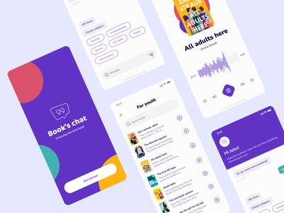 Book's chat - mobile app concept bot message colorfull violet pause sound mobile app category search listening concept design reading app chat audiobooks books graphic design clean ui app design
