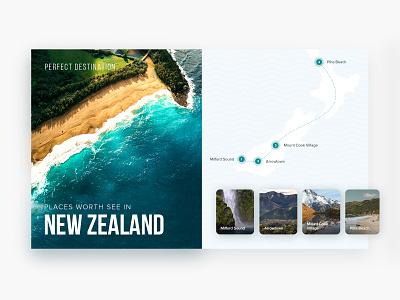 Perfect destination holiday newzealand clean travel planning blurred graphic design