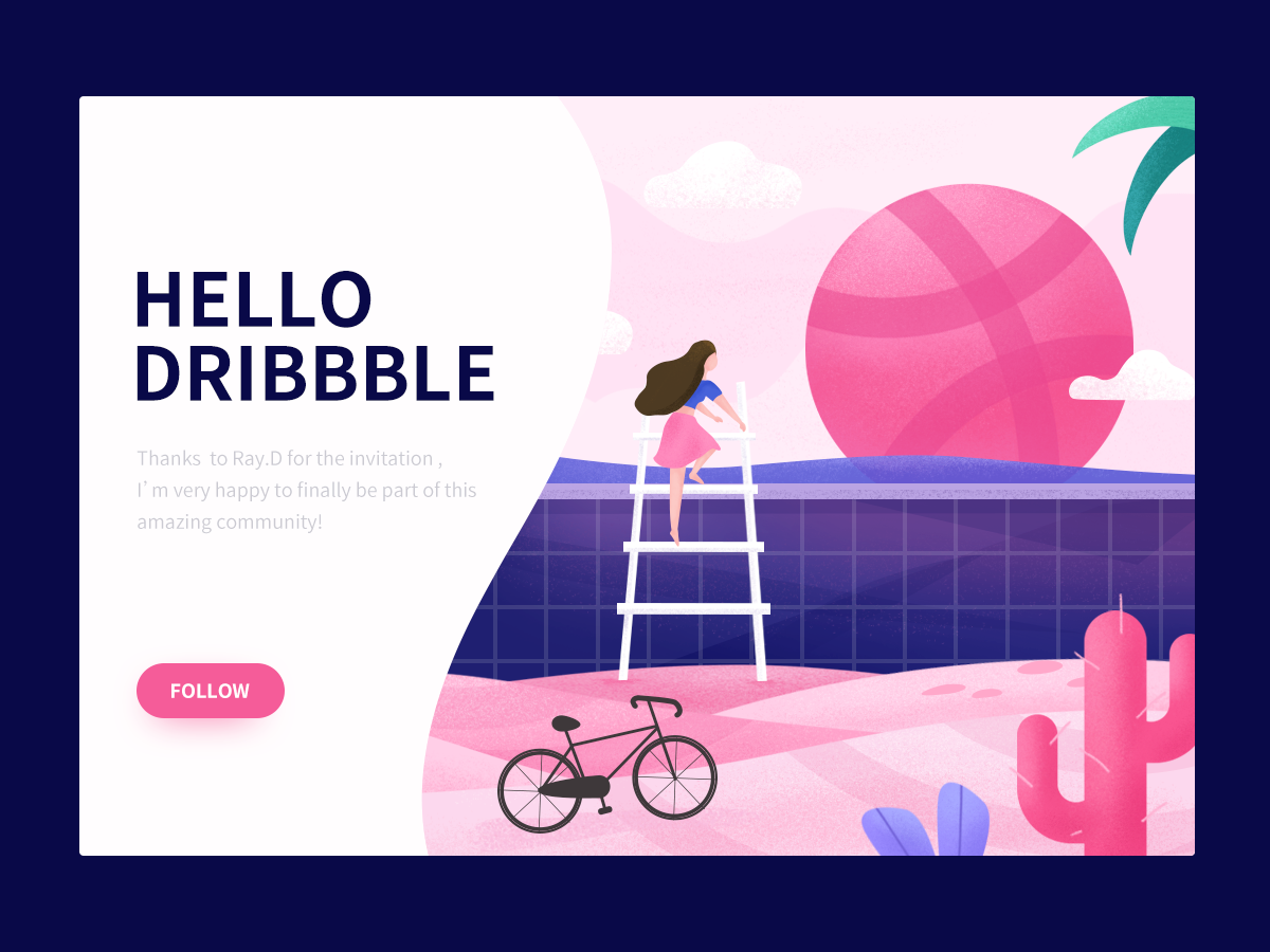 Hellodribbble illustration