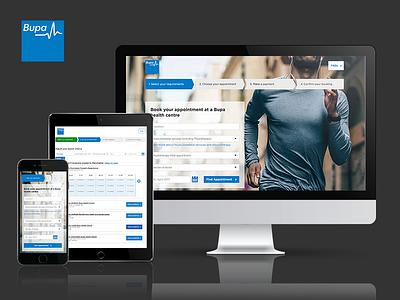 Bupa UK Online Booking Tool  web design healthcare bupa ui design ux design