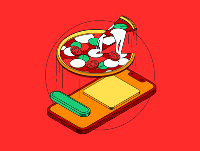 pizza isometric drawing