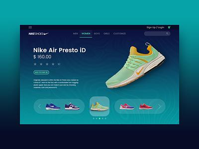 NIKE ecommerce shoes sneakers page landing web ui design deshboard nike