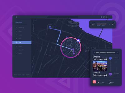 Map design dark ui web dashboard car transportation geo location cards map
