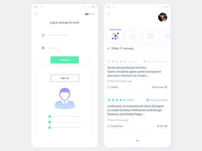 app upwork work upwork white ui design dashboard mobile app