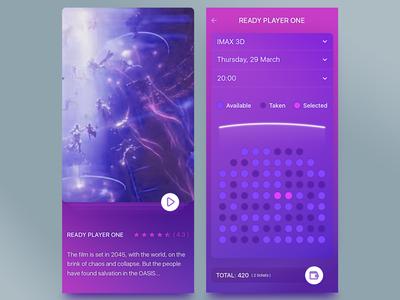 App Cinema challenge ui design mobile app review select booking ticket times movie cinema