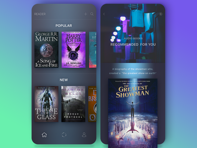 app reader lobby showman greatest application books reader ui design mobile app