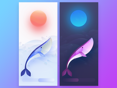 whale controller gradient sun moon water ocean cycle night day whale illustration