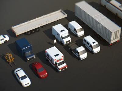 Vehicle Assets vehicle car lowpoly iso isometric ambulance forklift transporter van transportation 3d