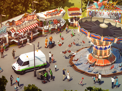3D Lowpoly German Funfair 3d lowpoly isometric iso daylight funfair carousel people german environment illustration