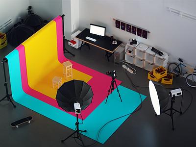 Photo Studio 3D illustration WIP 3d interior octane modeling hdri