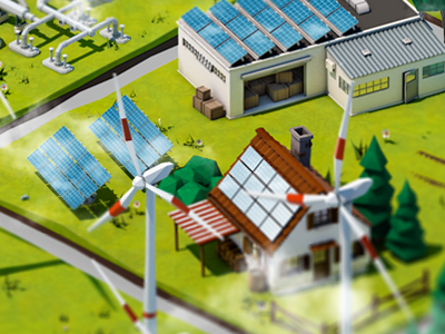 Renewable Energy Tiles 3d isometric environment green solar wind c4d animation energy power