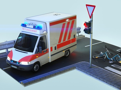 Accident Styleframe ambulance turntable 911 emergency 3d animation octane render