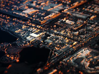 Satellites 3d displacement octane city urban satellite art sunlight