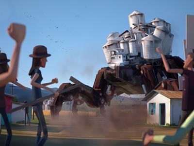»Better Save Soil« 3D animated short animation shortfilm city urban robot mech environment nature soil octanerender otoy 3d