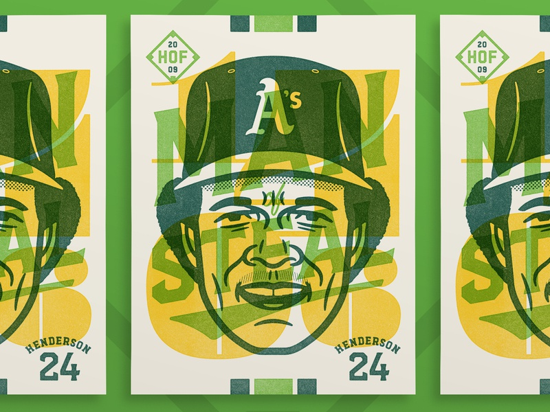 "Rickey Henderson - ""Man of Steal"" sports prints design overlay rickey henderson poster baseball portrait illustration vector"