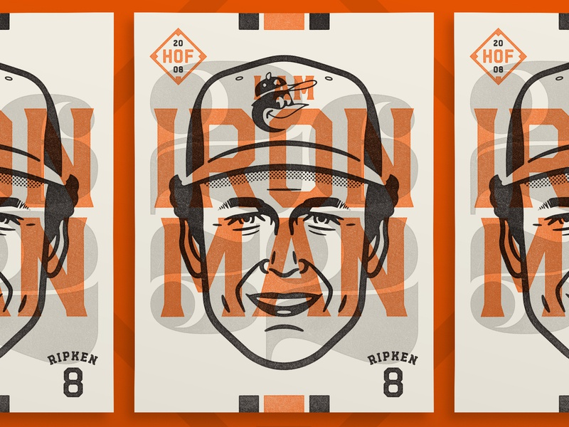 "Cal Ripken - ""I am Iron Man"" overlay cal ripken face design print poster sports baseball portrait illustration vector"